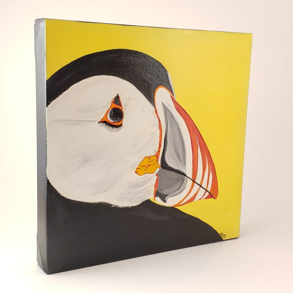 Yellow Puffin canvas painting by Karl Penton