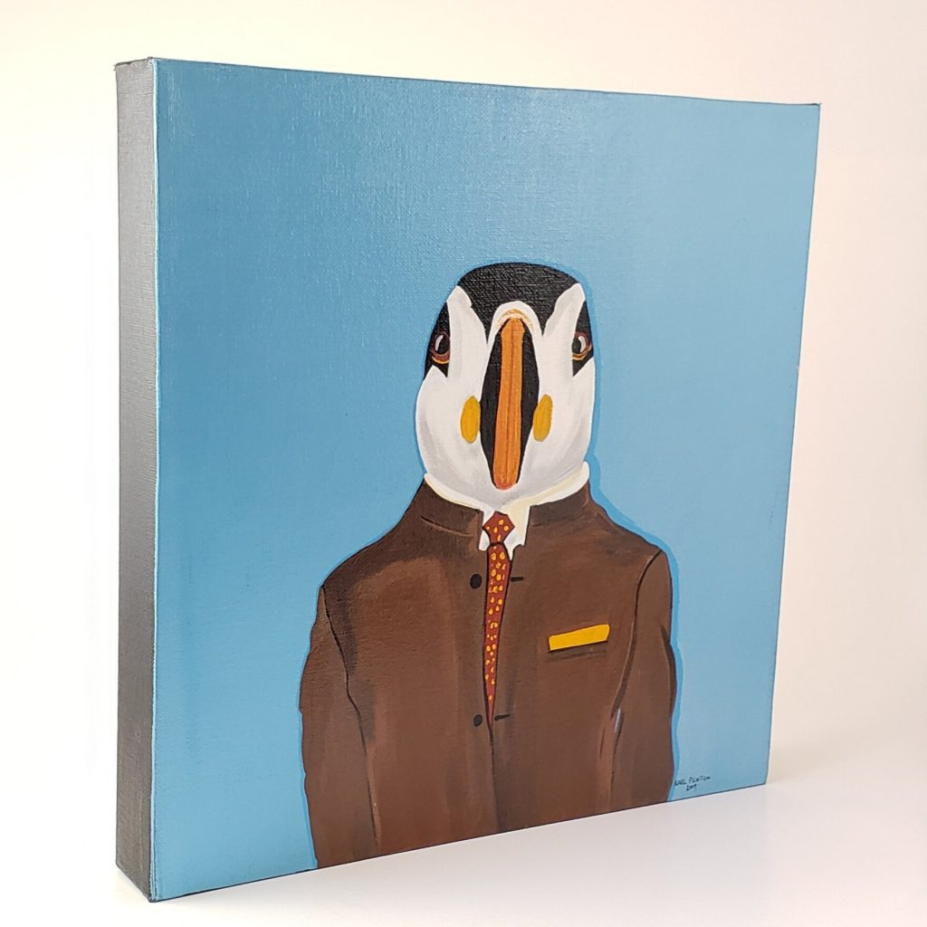 Blue Puffin canvas painting by Karl Penton