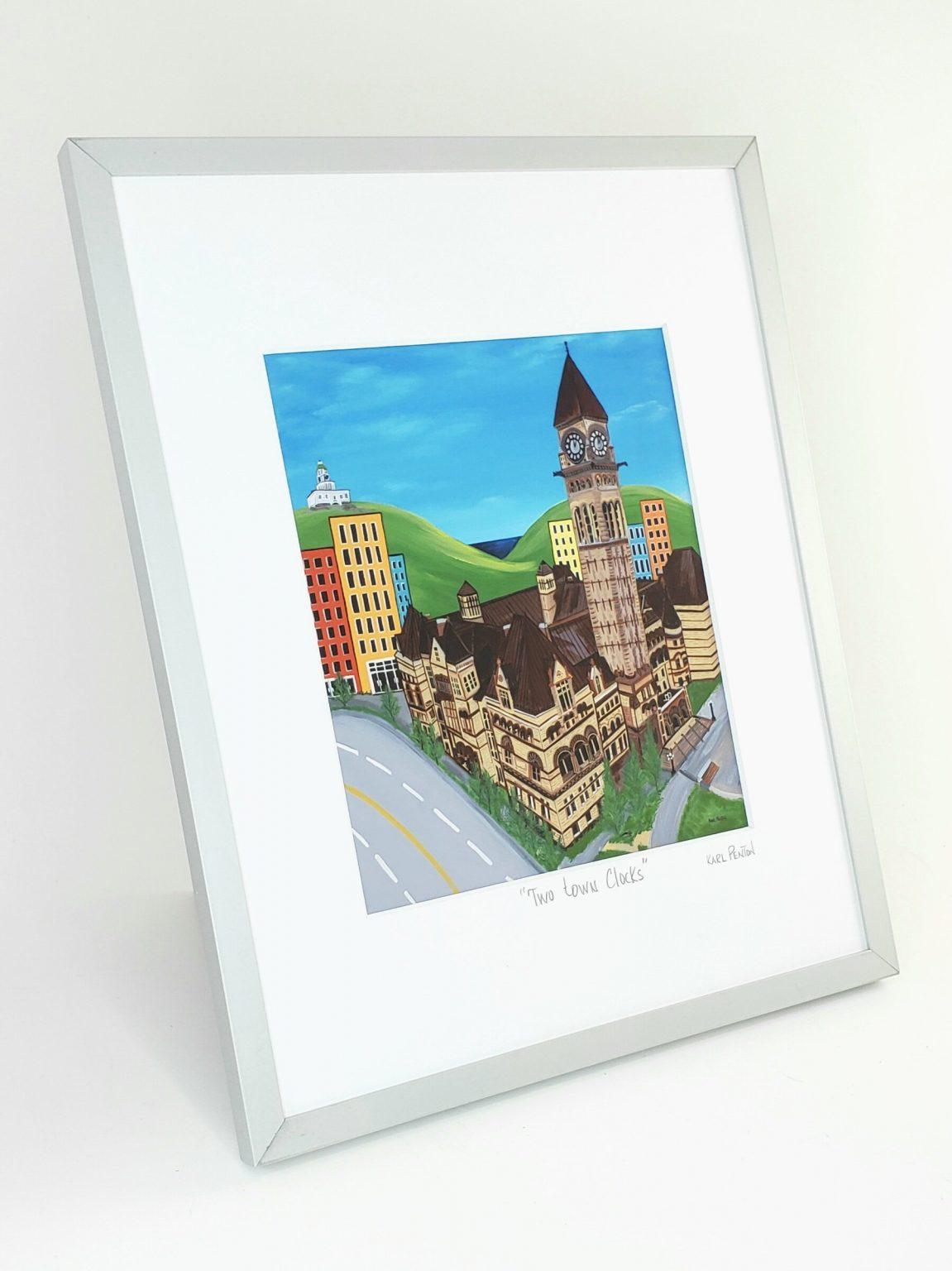 Two Town Clocks framed print by Karl Penton