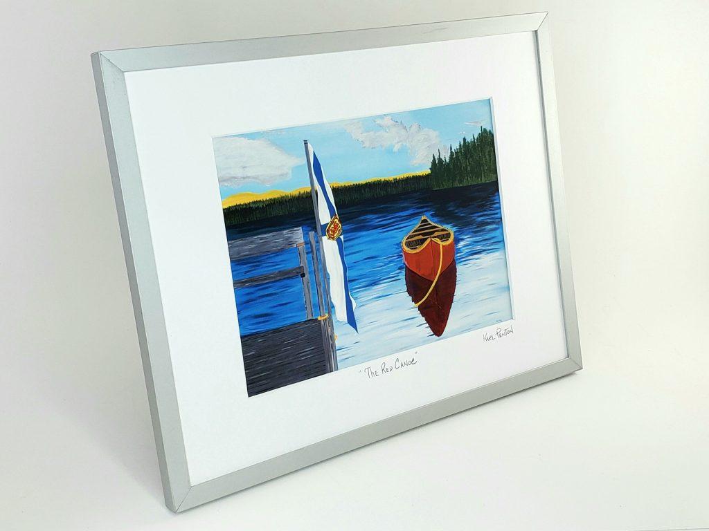 The Red Canoe framed print by Karl Penton
