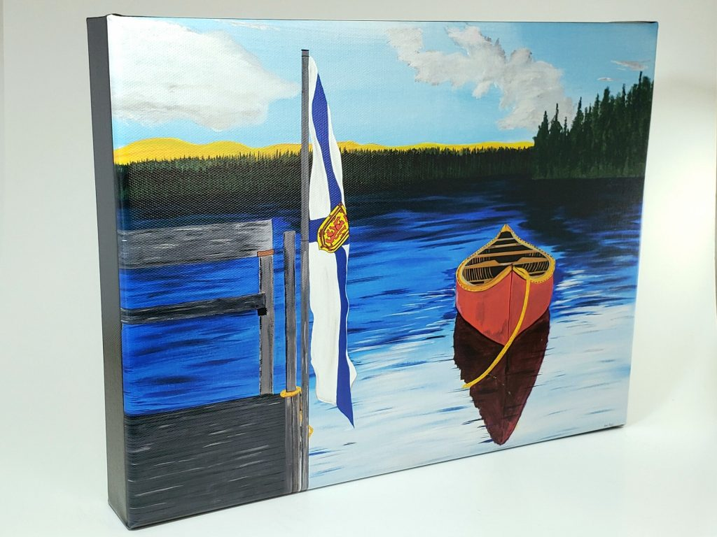 The Red Canoe gallery wrapped canvas print by Karl Penton