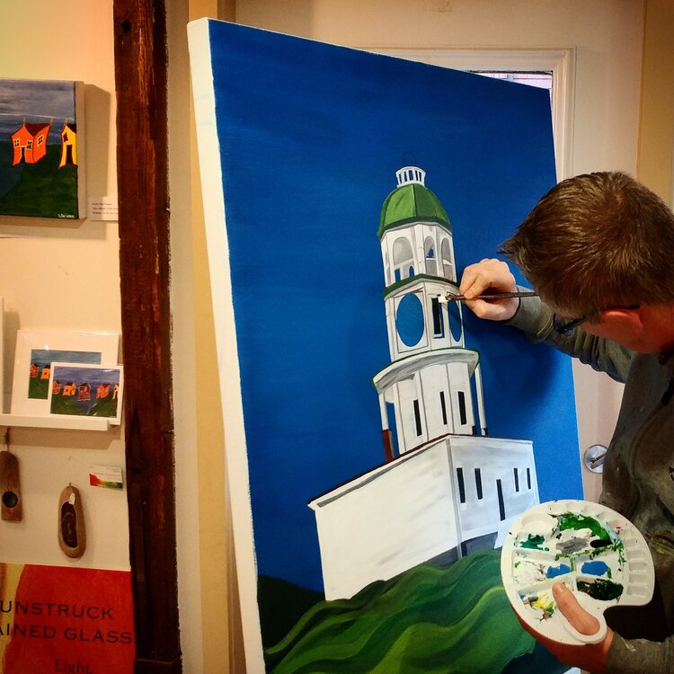Karl working on a painting